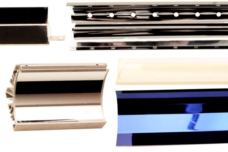 Aluminium reflectors, dichroic reflectors and UV coated quartz plates.