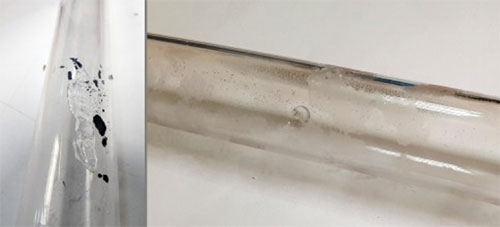 External contamination damage to a UV curing lamp